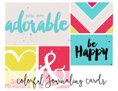 Free Printable Colorful Journaling Cards