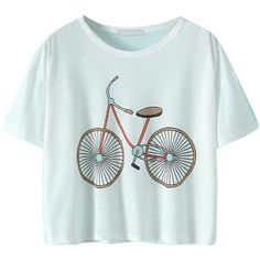Choies White Bike Pattern Short Sleeve Cropped T-shirt ($15) ❤ liked on Polyvore featuring tops, t-shirts, shirts, crop tops, white, crop top, print t shirts, white crop t shirt, print shirts and white shirt