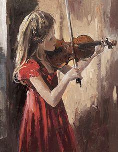 """Sweet Music"" -- by Sherree Valentine Daines, British Mermaid Drawings, Art Drawings, Violin Art, Violin Painting, Impressionist Artists, Illustration Mode, Art Themes, Michelangelo, Art Music"