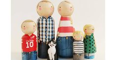 Part keepsake, part toy, these peg doll families can be customised so they look like your very own tribe. Hair style, dress style, maybe glasses and a beard – all these can be added just the way you like it so your family of wooden