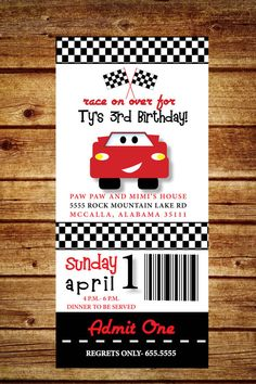 Hey, I found this really awesome Etsy listing at https://www.etsy.com/listing/184062608/disney-cars-birthday-invitation