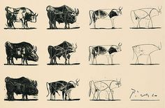 Line drawings by Picasso: a series of drawings showing the progression from realistic form to a few curving lines. Tone and detail have been eliminated: the bull stripped back to its essence.
