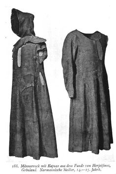 "Medieval Garments ~ Herjolfsnes ~ In 1921, a large number of graves were excavated in the burial ground of the old Norse colony of Herjolfsnes (""Herjolf's Point"") in Greenland. There were more than 30 complete gowns or tunics, 17 hoods, six woven stockings and five hats. The hoods were generously cut to cover both head and shoulders and featured that most distinctive element of Medieval headgear: the long, trailing tail known as the liripipe. The gowns were constructed of multiple gored…"