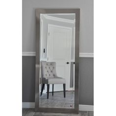 <li>Effortlessly make a statement with this grandiose silver mirror</li> <li>Hanging cleat hardware installed, drywall anchors and screws provided</li> <li>Handcrafted American Made Single-beveled Mirror with Removable Static Flag Label</li> Living Room Mirrors, Living Room Carpet, Living Room Furniture, Full Body Mirror, Black Leather Chair, Most Comfortable Office Chair, Apartment Makeover, Bedroom Decor, Bedroom Ideas