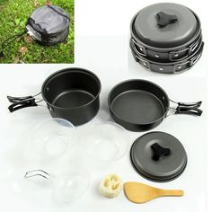 This outdoor cooking set is designed for one or two people. The pot and frying pan are made of anodised aluminum, which makes it solid and light. This cooking set is a kind of non-stick cookware. Fold