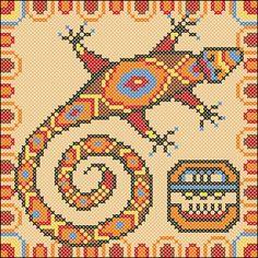 Mayan Lizard crosst stitch chart