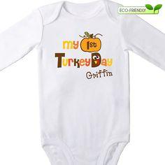 Personalized 1st Turkey Day Onesie $16 #thanksgiving #baby