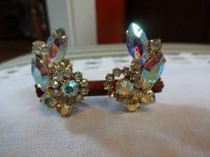 Vintage Aurora Borealis Gold Tone Clip Earrings | SelectionsBySusan - Jewelry on ArtFire