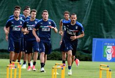 Leonardo Bonucci of Italy (R) in action during the training session at Coverciano at Coverciano on June 05, 2017 in Florence, Italy.