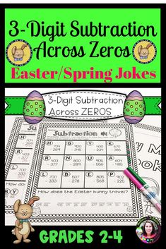 Subtraction Across ZEROS Practice with Easter/Spring Jokes - Real Time - Diet, Exercise, Fitness, Finance You for Healthy articles ideas Math Resources, Math Activities, Holiday Activities, Math Stations, Math Centers, Elementary Teacher, Elementary Schools, Spring Jokes, Subtraction Across Zeros
