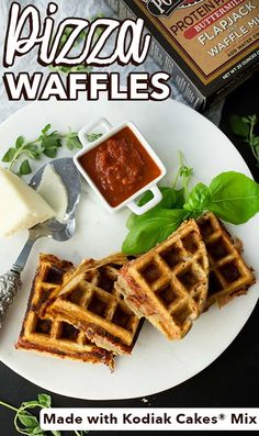 Waffles aren't just for brunch - here's an easy recipe idea to make for lunch/dinner! Create 'Pizza Waffles' using your favorite cheese and meat, and of course, Kodiak Cakes Buttermilk Power Cakes Flapjack and Waffle Mix! Waffle Pizza, Waffle Sandwich, Waffle Cake, Waffle Mix, Pizza Pizza, Kodiak Power Cakes, Kodiak Cakes, Cake Mix Recipes, Waffle Recipes