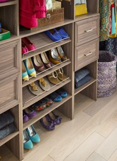 Shoe shelves are the perfect addition for your closet! No more piles of shoes on the floor. #ClosetMaidCool