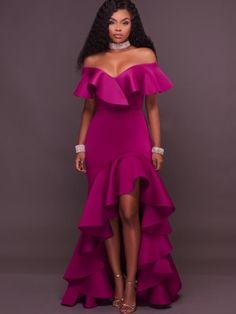 Fuchsia Falbala Slash Neck Maxi kjole for kvinner Sexy Dresses, Cute Dresses, Beautiful Dresses, Prom Dresses, Formal Dresses, Dress Vestidos, Gorgeous Dress, Dress Prom, African Fashion Dresses