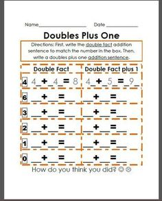 doubles plus one worksheet | my classroom. | Pinterest ...