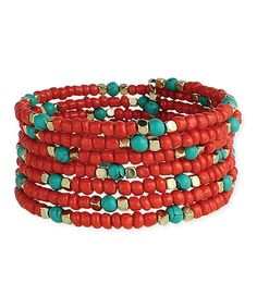 Look at this #zulilyfind! Red & Turquoise Beaded Coil Bracelet by ZAD #zulilyfinds