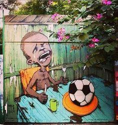 About FIFA World Cup In Brazil. Graffiti by Paulo Ito, brazilian artist.