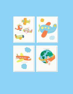NURSERY ART PRINTS, Baby Boy Nursery Prints, Set Of 4 Prints, Orange Nursery, Airplanes Nursery Decor, Travel Theme Nursery, Blue and Orang