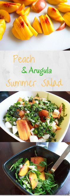 Peach Arugula Salad Peach Arugula Salad with fresh mozzarella and basil. Light and healthy fresh salad that's easy to throw together for summer gatherings! Arugula Recipes, Healthy Salad Recipes, Vegetarian Recipes, Cooking Recipes, Vegetarian Salad, Pasta Recipes, Healthy Foods, Clean Eating, Healthy Eating