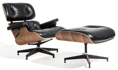 Rove Lounge Chair with Ottoman - Palermo Black + Walnut