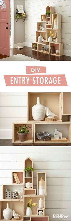 Add some organization to your life with this chic entryway storage system from BEHR Paint. Light wooden boxes create a modern storage system that's stylish and functional. Give your DIY organizer a subtle pop of color by painting the inside of each box in alternating shades of Life is a Peach, Close Knit, Sepia Filter, and Everything's Rosy.