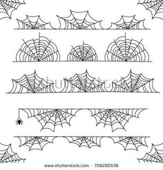 Stock Image: Holidays halloween cobweb vector frame border and dividers isolated on white with spider web for spiderweb scary design Halloween Borders, Halloween Frames, Halloween Doodle, Halloween Vector, Halloween Drawings, Halloween Quotes, Holidays Halloween, Scary Halloween, Doodle Drawings