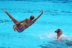 Egypt compete in the Synchronized Swimming Team preliminary round on day four of the 15th FINA World Championships at Palau Sant Jordi on July 23, 2013 in Barcelona, Spain.