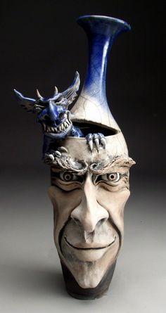 Mitchell Grafton - Demon Inside Face Jug Ceramic Sculpture (http://www.hiddenridgegallery.com/store/mitchell-grafton/demon-inside-face-jug.html) #art #sculpture #ceramics #pottery #mitchellgrafton