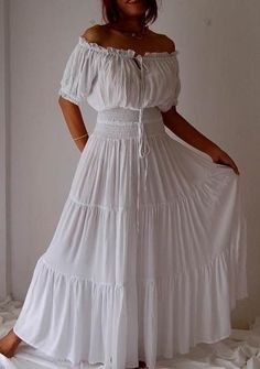 white dress peasant smocked ruffled-I'd tie dye it. Mode Hippie, Bohemian Mode, Hippie Gypsy, Boho Fashion, Fashion Dresses, Feminine Fashion, Ladies Fashion, Womens Fashion, Mexican Dresses