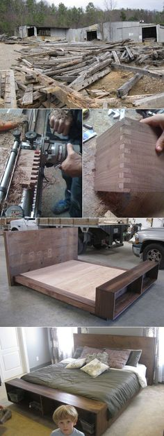 Bed from discarded upcycled barn wood - better than West Elm! : Bed from discarded upcycled barn wood - better than West Elm! Pallet Furniture, Furniture Projects, Home Projects, Home Furniture, Furniture Design, Diy Bett, Into The Woods, Wood Beds, Bed Design