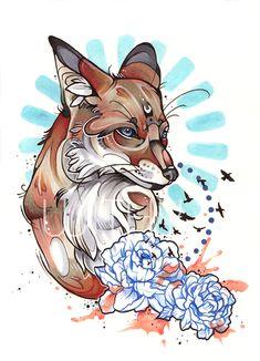 Fox Tattoo by WithyArt on DeviantArt Cute Animal Drawings, Cute Drawings, Tattoo Sketches, Tattoo Drawings, Zorro Tattoo, Fuchs Tattoo, Fox Tattoo Design, Flash Art Tattoos, Witch Art
