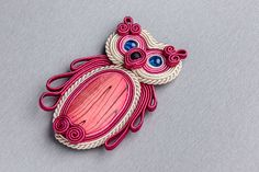 PINK OWL -brooch soutache.