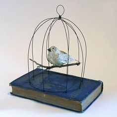 Darling paper Mache Bird in a Birdcage Vintage Altered by GatheredTogether, $55.00