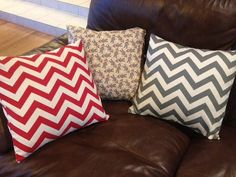 Set of 3 pillow covers red and gray chevron with by BarefootPhoebe, $36.00