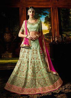 Gorgeous Viva N Diva Green Colored Raw Silk Lehenga Choli For The Festive Season Ahead | Buy Online letest Collections in Designer Lehengas | Free Shipping
