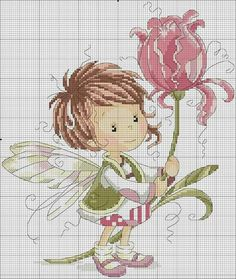 Brown haired fairy with flower Fantasy Cross Stitch, Cross Stitch Fairy, Cross Stitch Angels, Cross Stitch For Kids, Cross Stitch Boards, Mini Cross Stitch, Cross Stitch Flowers, Cross Stitching, Cross Stitch Embroidery