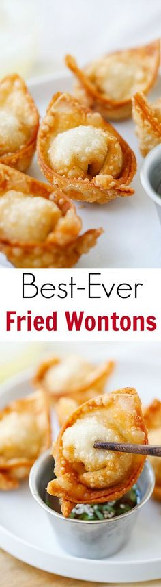 Fried wontons – the BEST fried wontons!! Super crispy and crazy delicious, learn how to make fried wontons with this easy recipe!! | http://rasamalaysia.com