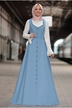 Al Marah - September Gilet Dress - Blue Abaya Fashion, Muslim Fashion, Women's Fashion Dresses, Beautiful Gown Designs, Stylish Dress Designs, Modest Dresses, Pretty Dresses, Casual Dresses, Islamic Women's Clothing