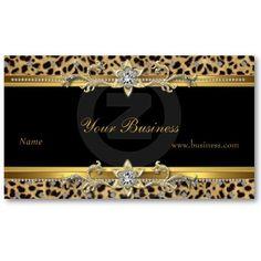 Elegant Gold Leopard Black Jewel Look Image Business Cards
