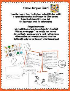 Elmer the elephant weather writing activities