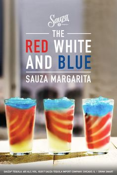 Celebrate America's 239th birthday with Mexico's 142 year old treasure: Sauza® Tequila!   For the perfect 4th of July themed refresher, swirl the Sauza Classic Margarita and the Sauza Strawberry Margarita. Next, top with DeKuyper® Blue Curacao.