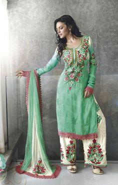 $112.39 Cyan Blue Cotton Salwar Kameez 15312