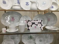 Elegant monogrammed china pieces make a wonderful family heirloom! Available at Handworks Helena. http://www.handworkshelena.com/?s=monogram&post_type=product