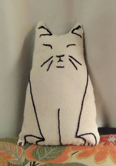 Cat Pillow Doll Handsewn Heavy Muslin with by LadybugArtStudio, $15.00