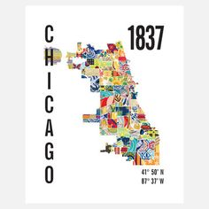 Chicago Neighborhood Map Bold, $21, now featured on Fab.