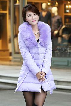 Solid Color Fur Collar Bowtie Coat Down Coats