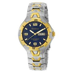 Armitron Men's 201745BLU Two-Tone Stainless Steel Round Dial Dress Watch Armitron. $44.99. Two-tone case and adjustable stainless steel bracelet with one touch buckle and safety clasp. Water-resistant to 165 feet (50 M). day and date feature at three o'clock. Blue sunray dial with gold-tone luminous indexes and hands. Save 25% Off!