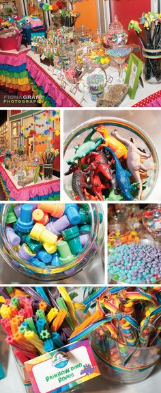 rainbow dino party candy and toy buffet for all the kids!