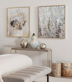 For our LUNAR CONSOLE styling, we paired warm and colours with soft metallics. The result is this relaxed yet luxury bedroom or living room décor idea. GET THE LOOK: LUNAR CONSOLE, made of brushed brass frame & weathered oak top Glamour Living Room, Silver Living Room, Silver Bedroom, Blue And Gold Bedroom, Living Room Furniture, Living Room Decor, Bedroom Decor, Bedroom Ideas, Artwork For Bedroom