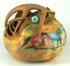 collaborative gourd art by Judy Richie and Esther Rogoway - amazing what a creative person can do with a gourd! Hand Painted Gourds, Decorative Gourds, Pumpkin Crafts, Gourd Crafts, Native American Design, Spring Photography, Horse Sculpture, Gourd Art, Horse Art
