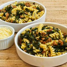 Pasta with Hot Italian Sausage - Kale - Garlic - Red Pepper Flakes - need 3 links - 12 oz. hot Italian sausage - kale leaves - 6 garlic cloves - olive oil - red pepper flakes - chicken broth - Rotini pasta - whole wheat or gluten free Kale Recipes, Pasta Recipes, Great Recipes, Dinner Recipes, Cooking Recipes, Favorite Recipes, Healthy Recipes, Dinner Ideas, Recipies